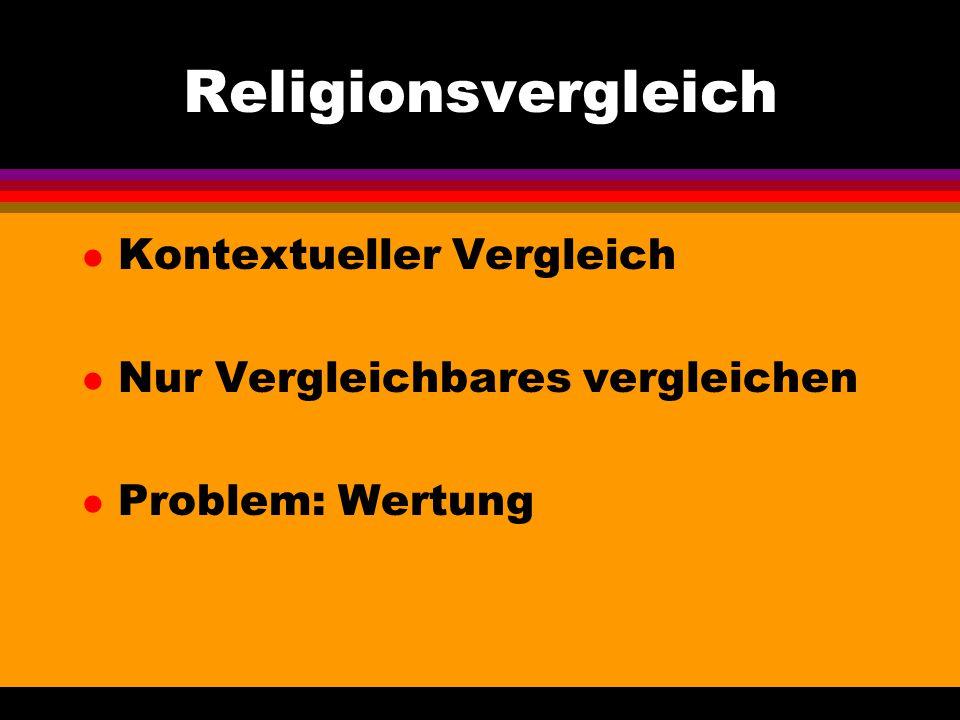 Religionsvergleich l Kontextueller Vergleich l Nur Vergleichbares vergleichen l Problem: Wertung