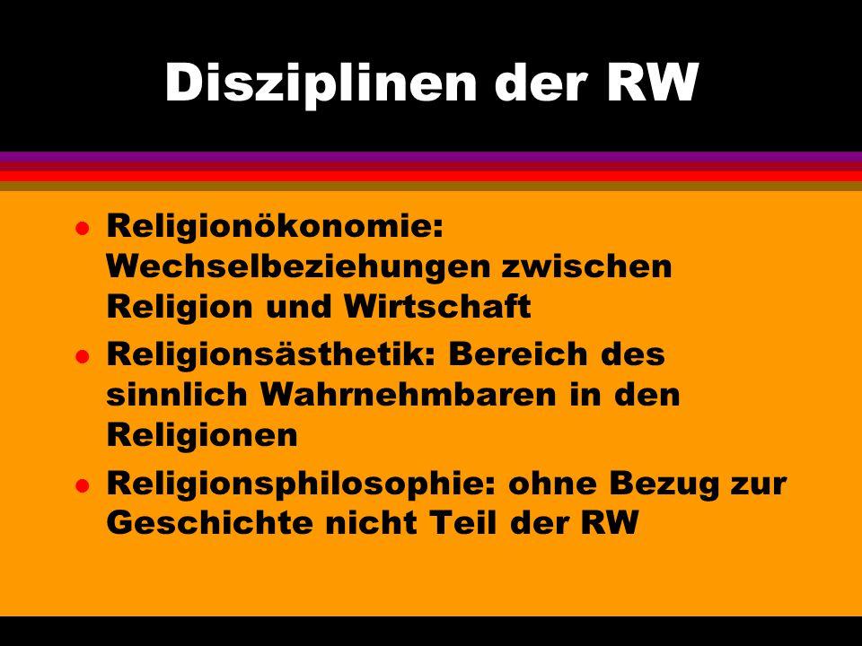 Disziplinen der RW l Religionökonomie: Wechselbeziehungen zwischen Religion und Wirtschaft l Religionsästhetik: Bereich des sinnlich Wahrnehmbaren in