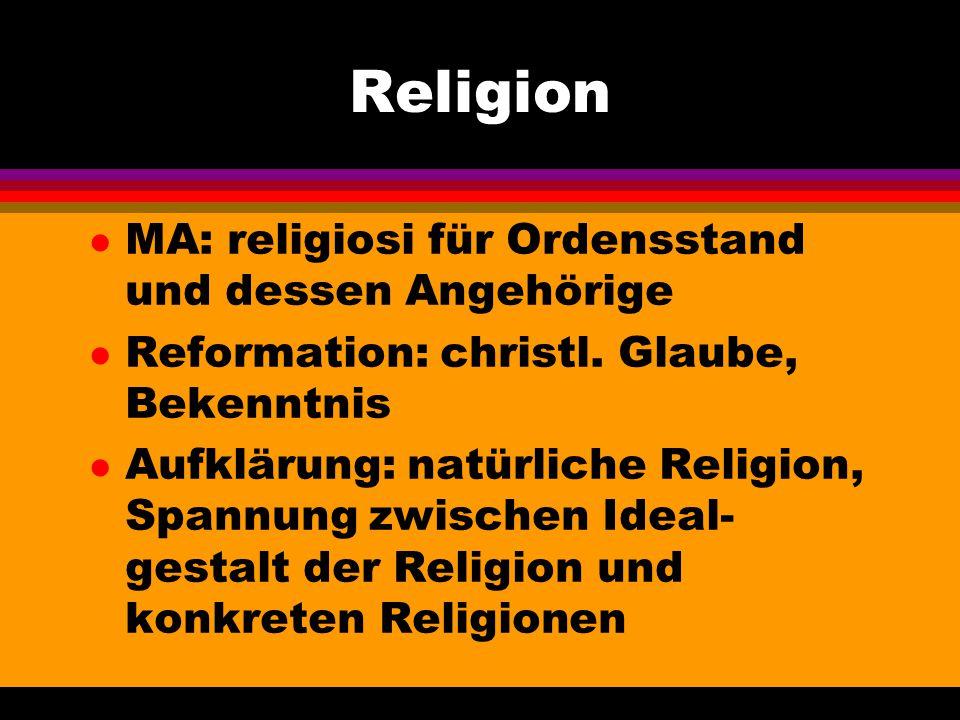 Religion l MA: religiosi für Ordensstand und dessen Angehörige l Reformation: christl. Glaube, Bekenntnis l Aufklärung: natürliche Religion, Spannung
