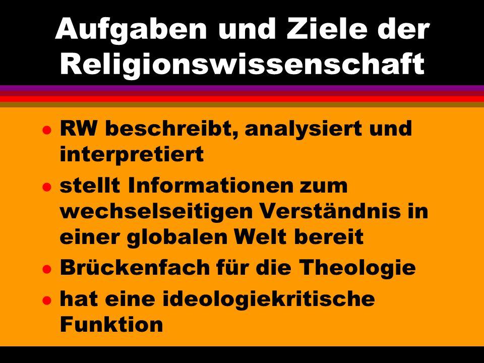 Aufgaben und Ziele der Religionswissenschaft l RW beschreibt, analysiert und interpretiert l stellt Informationen zum wechselseitigen Verständnis in e