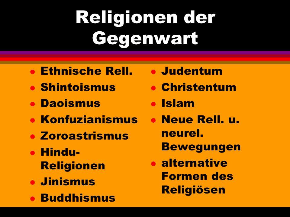Religionen der Gegenwart l Ethnische Rell. l Shintoismus l Daoismus l Konfuzianismus l Zoroastrismus l Hindu- Religionen l Jinismus l Buddhismus l Jud