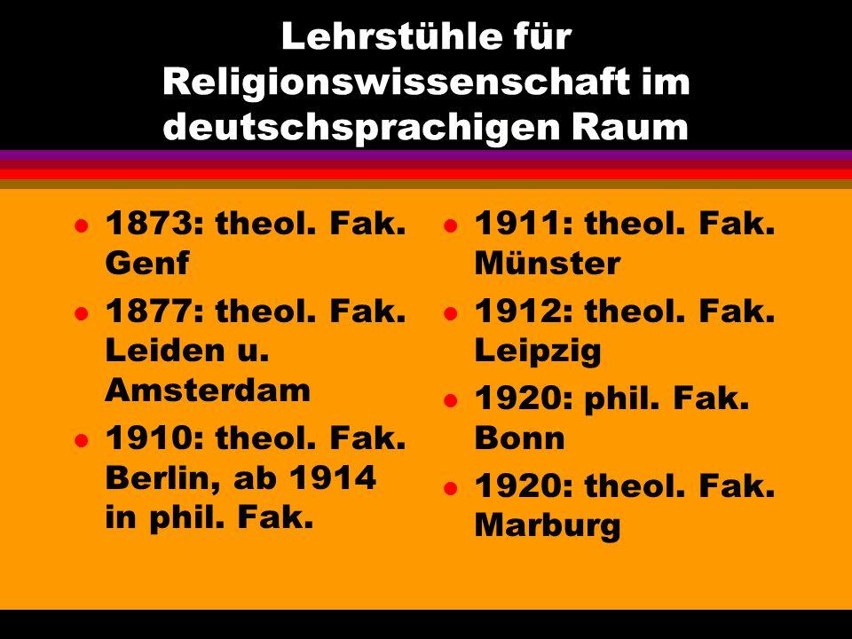 Lehrstühle für Religionswissenschaft im deutschsprachigen Raum l 1873: theol. Fak. Genf l 1877: theol. Fak. Leiden u. Amsterdam l 1910: theol. Fak. Be