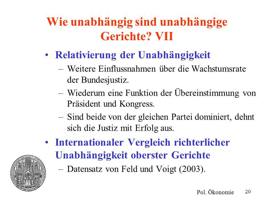 20 Wie unabhängig sind unabhängige Gerichte. VII Pol.