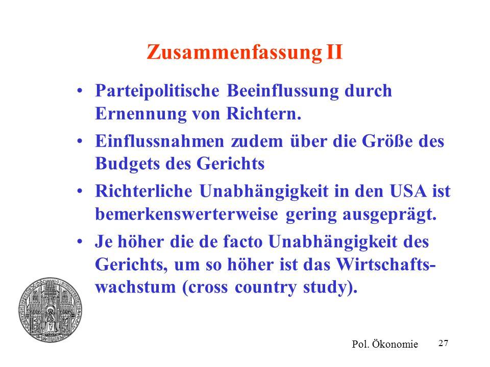 27 Zusammenfassung II Pol. Ökonomie Parteipolitische Beeinflussung durch Ernennung von Richtern.