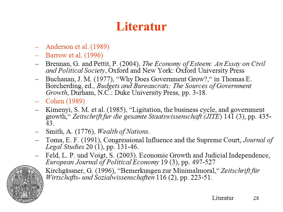 28 Literatur –Anderson et al. (1989) –Barrow et al. (1996) –Brennan, G. and Pettit, P. (2004), The Economy of Esteem: An Essay on Civil and Political