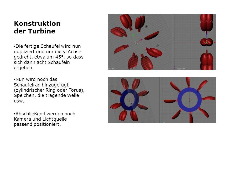 Konstruktion der Turbine Die fertige Schaufel wird nun dupliziert und um die y-Achse gedreht, etwa um 45°, so dass sich dann acht Schaufeln ergeben. N