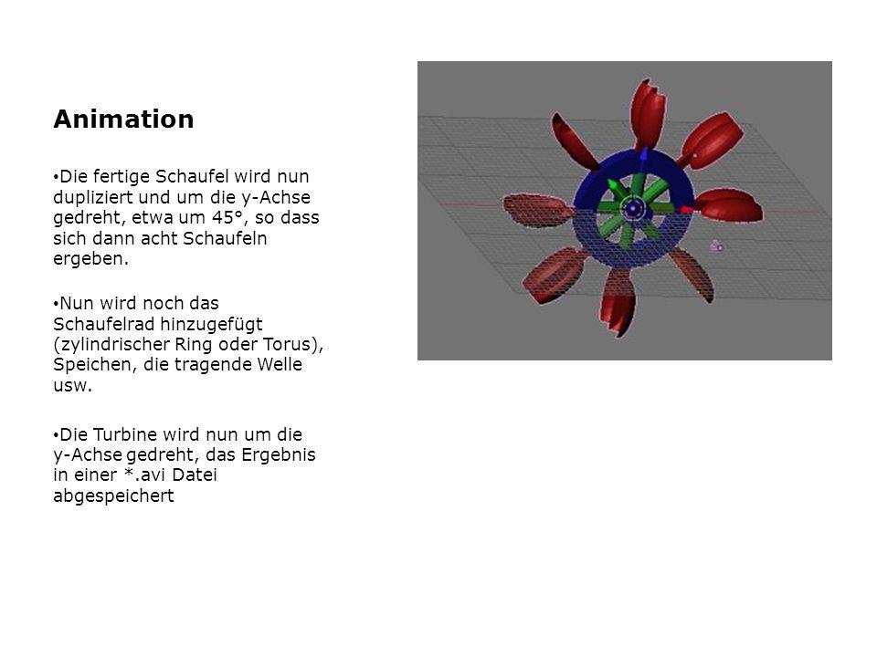 Animation Die fertige Schaufel wird nun dupliziert und um die y-Achse gedreht, etwa um 45°, so dass sich dann acht Schaufeln ergeben. Nun wird noch da