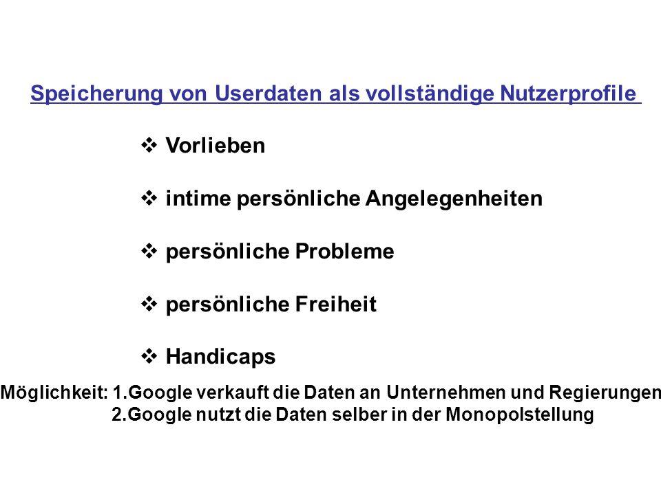 Speicherung von Userdaten als vollständige Nutzerprofile  Vorlieben  intime persönliche Angelegenheiten  persönliche Probleme  persönliche Freiheit  Handicaps Möglichkeit: 1.Google verkauft die Daten an Unternehmen und Regierungen 2.Google nutzt die Daten selber in der Monopolstellung