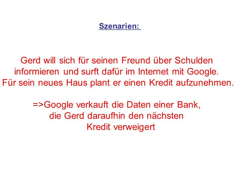 Szenarien: Gerd will sich für seinen Freund über Schulden informieren und surft dafür im Internet mit Google. Für sein neues Haus plant er einen Kredi