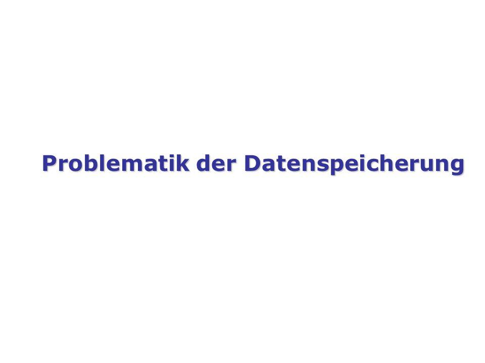 Problematik der Datenspeicherung