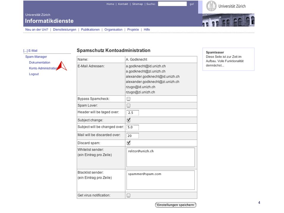 Universität Zürich Informatikdienste 25.04.06 GoKoordinatorenmeeting 27. April 200614 SpamAssassin 