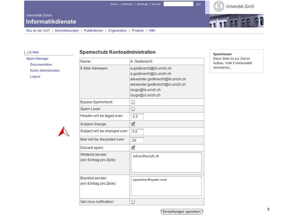 Universität Zürich Informatikdienste 25.04.06 GoKoordinatorenmeeting 27. April 200619 SpamAssassin 