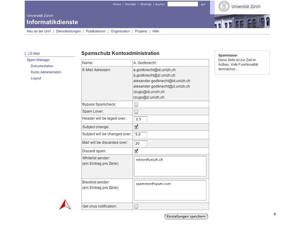 Universität Zürich Informatikdienste 25.04.06 GoKoordinatorenmeeting 27. April 200624 SpamAssassin 