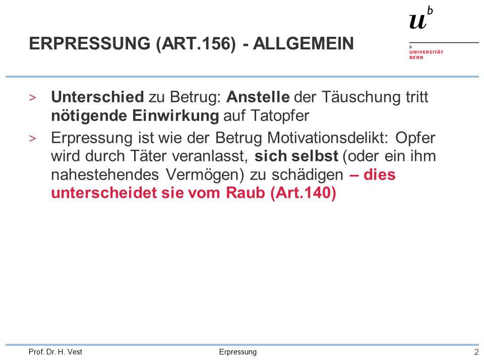 Erpressung 3 Prof.Dr. H. Vest ERPRESSUNG (ART.156) – OBJ.