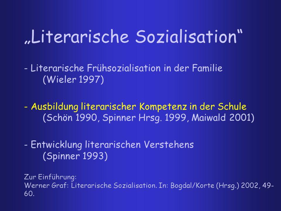 """""""Literarische Sozialisation - Literarische Frühsozialisation in der Familie (Wieler 1997) - Ausbildung literarischer Kompetenz in der Schule (Schön 1990, Spinner Hrsg."""