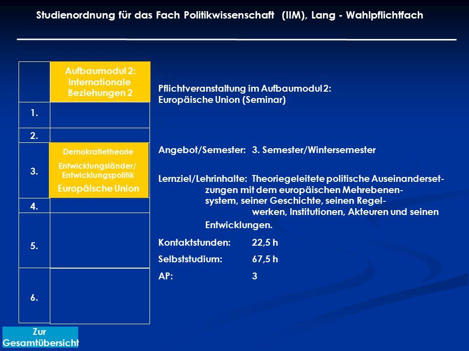 Pflichtveranstaltung im Aufbaumodul 2: Europäische Union (Seminar) Angebot/Semester: 3. Semester/Wintersemester Lernziel/Lehrinhalte:Theoriegeleitete