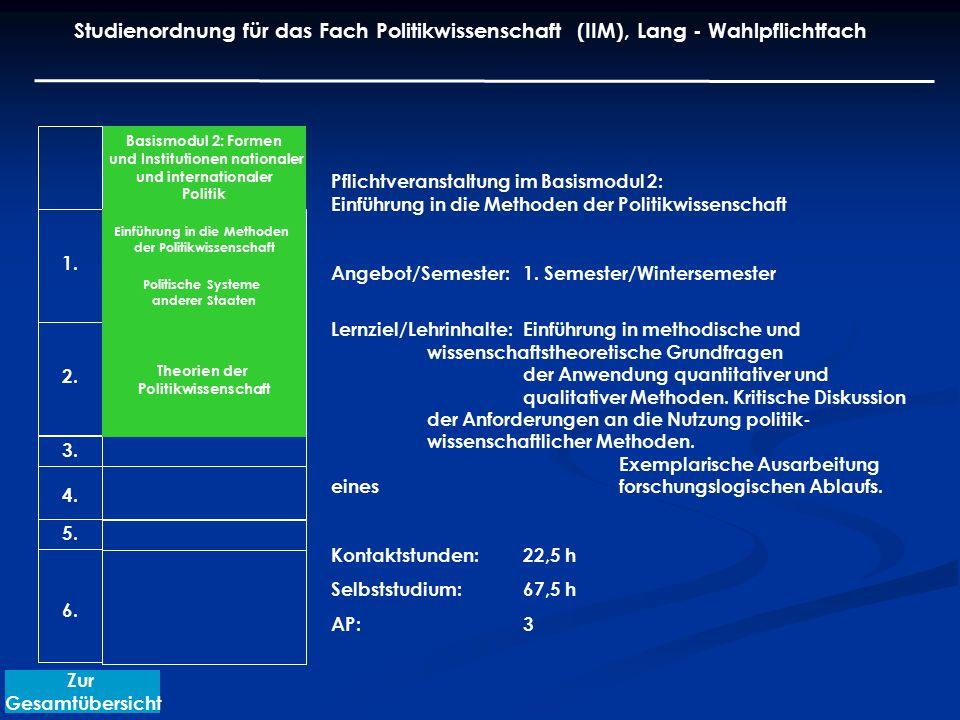 Pflichtveranstaltung im Basismodul 2: Einführung in die Methoden der Politikwissenschaft Angebot/Semester: 1. Semester/Wintersemester Lernziel/Lehrinh