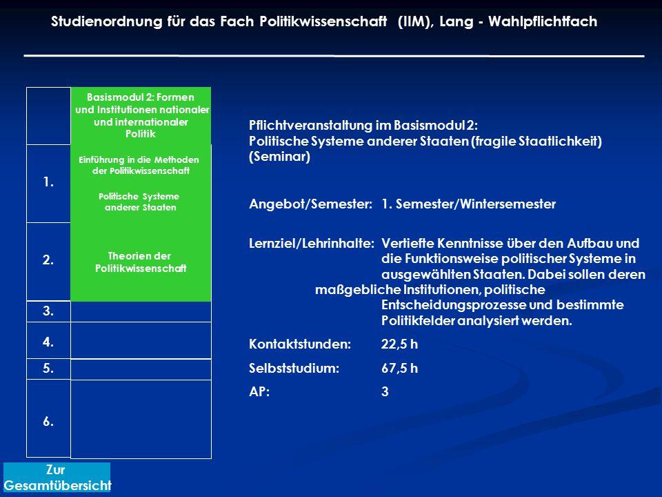 Pflichtveranstaltung im Basismodul 2: Politische Systeme anderer Staaten (fragile Staatlichkeit) (Seminar) Angebot/Semester: 1. Semester/Wintersemeste