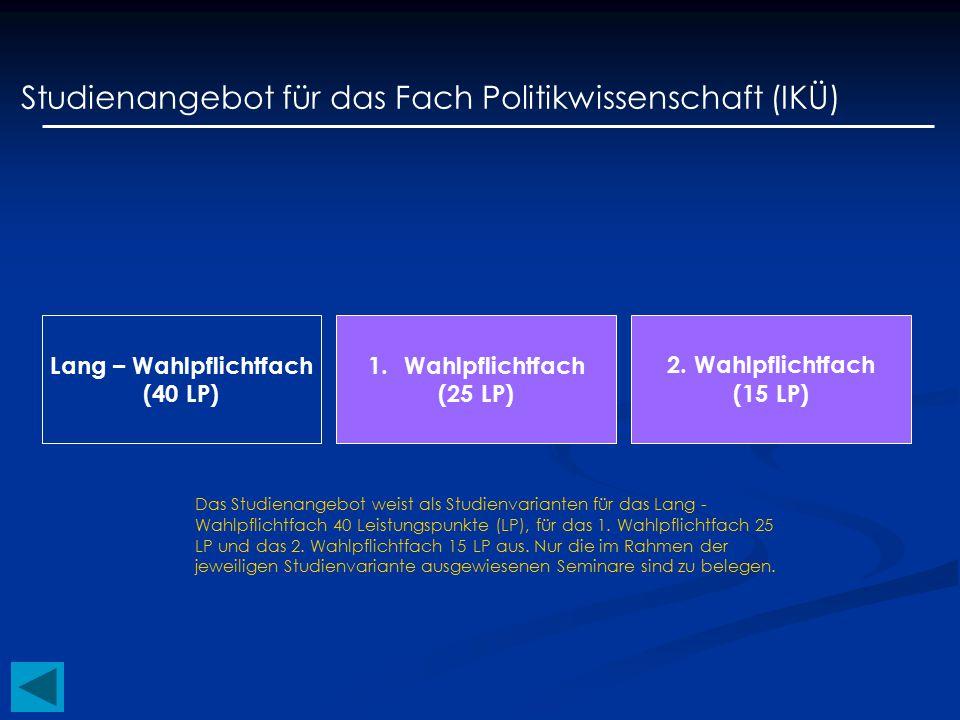 Lang – Wahlpflichtfach (40 LP) Studienangebot für das Fach Politikwissenschaft (IIM) 2.