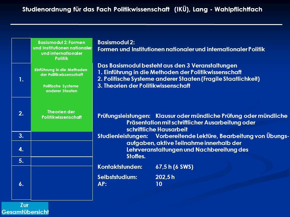 Basismodul 2: Formen und Institutionen nationaler und internationaler Politik Das Basismodul besteht aus den 3 Veranstaltungen 1. Einführung in die Me