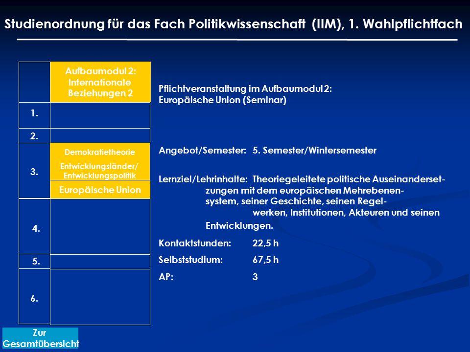 Pflichtveranstaltung im Aufbaumodul 2: Europäische Union (Seminar) Angebot/Semester: 5. Semester/Wintersemester Lernziel/Lehrinhalte:Theoriegeleitete