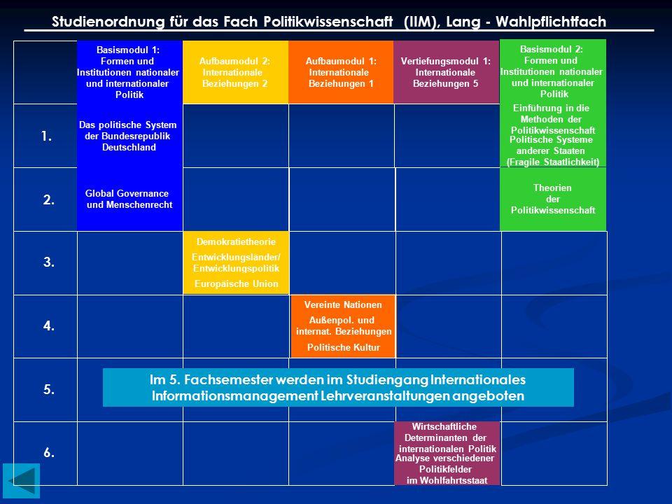 Studienordnung für das Fach Politikwissenschaft (IIM), Lang - Wahlpflichtfach Basismodul 1: Formen und Institutionen nationaler und internationaler Po