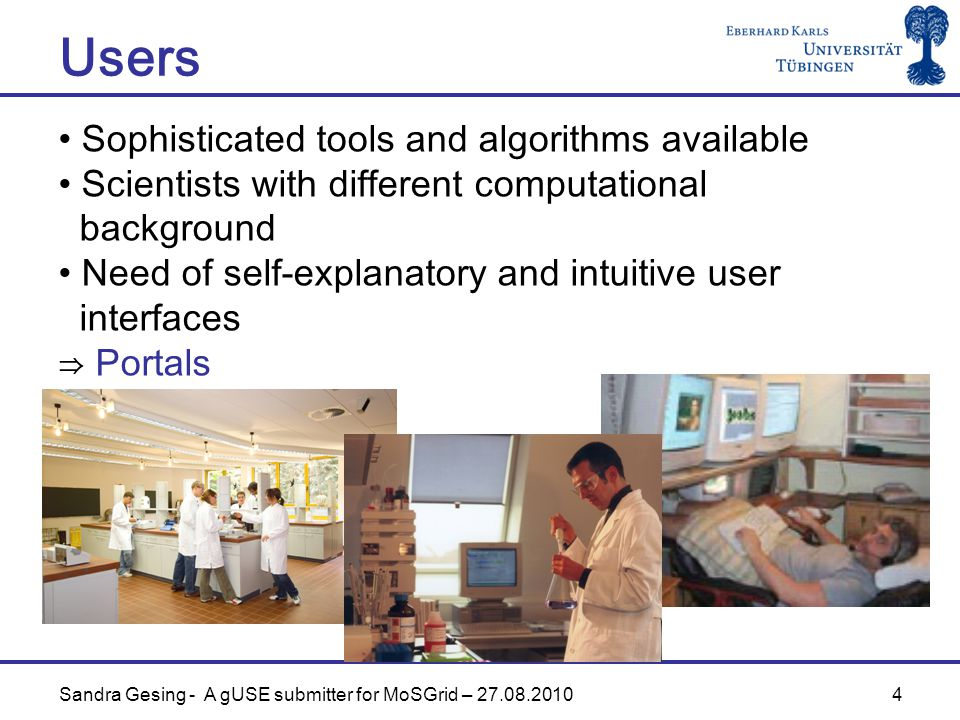 4 Users Sophisticated tools and algorithms available Scientists with different computational background Need of self-explanatory and intuitive user interfaces ⇒ Portals Sandra Gesing - A gUSE submitter for MoSGrid – 27.08.2010