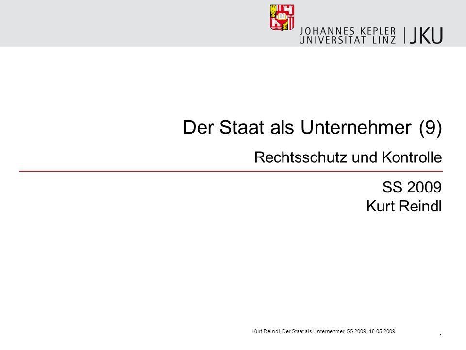 Der Staat als Unternehmer (9) Rechtsschutz und Kontrolle SS 2009 Kurt Reindl Kurt Reindl, Der Staat als Unternehmer, SS 2009, 18.05.2009 1