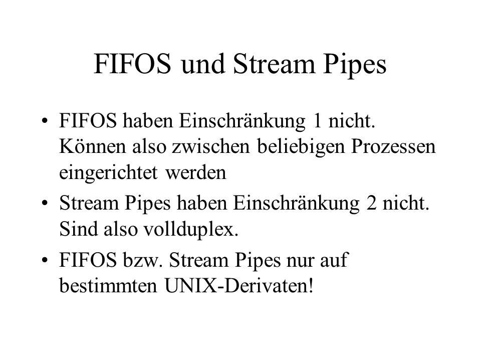 FIFOS und Stream Pipes FIFOS haben Einschränkung 1 nicht.