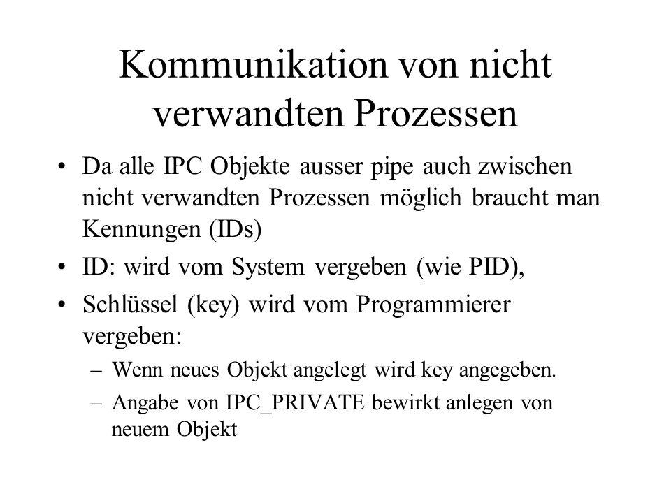 Kommunikation von nicht verwandten Prozessen Da alle IPC Objekte ausser pipe auch zwischen nicht verwandten Prozessen möglich braucht man Kennungen (IDs) ID: wird vom System vergeben (wie PID), Schlüssel (key) wird vom Programmierer vergeben: –Wenn neues Objekt angelegt wird key angegeben.