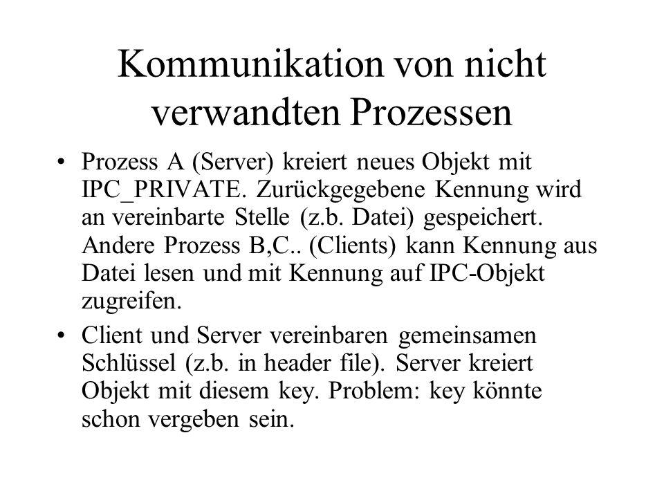 Kommunikation von nicht verwandten Prozessen Prozess A (Server) kreiert neues Objekt mit IPC_PRIVATE.