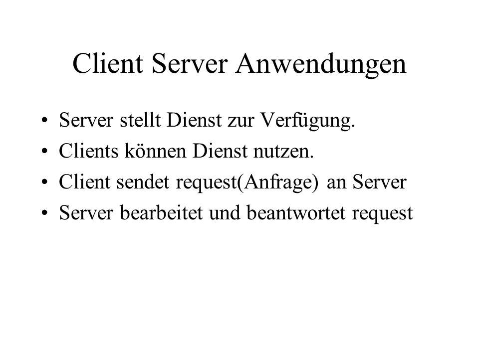 Client Server Anwendungen Server stellt Dienst zur Verfügung.