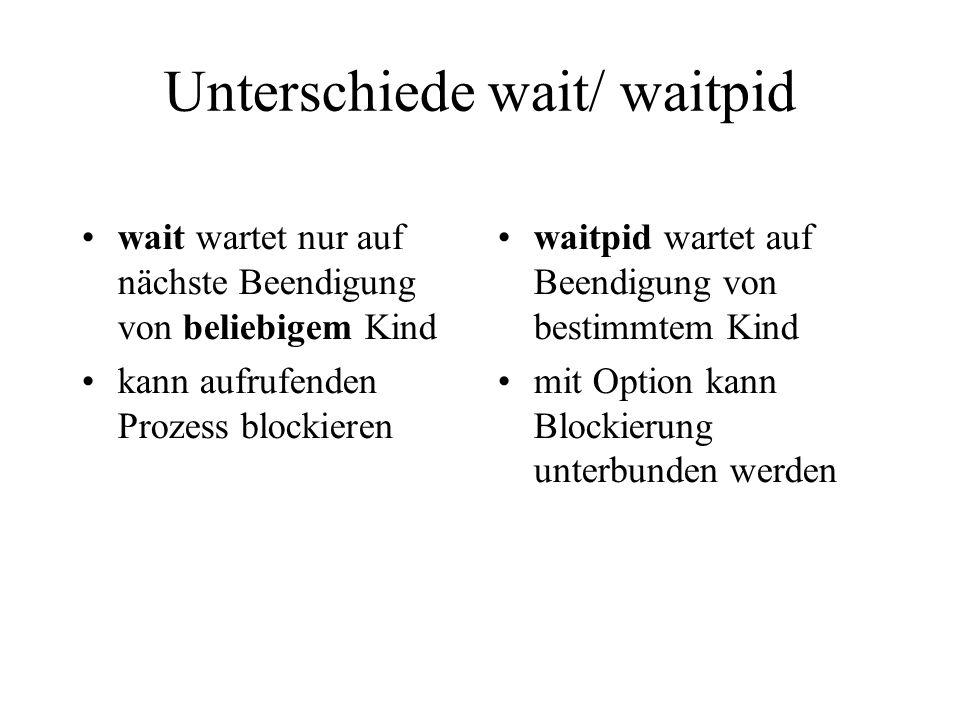 Unterschiede wait/ waitpid wait wartet nur auf nächste Beendigung von beliebigem Kind kann aufrufenden Prozess blockieren waitpid wartet auf Beendigung von bestimmtem Kind mit Option kann Blockierung unterbunden werden
