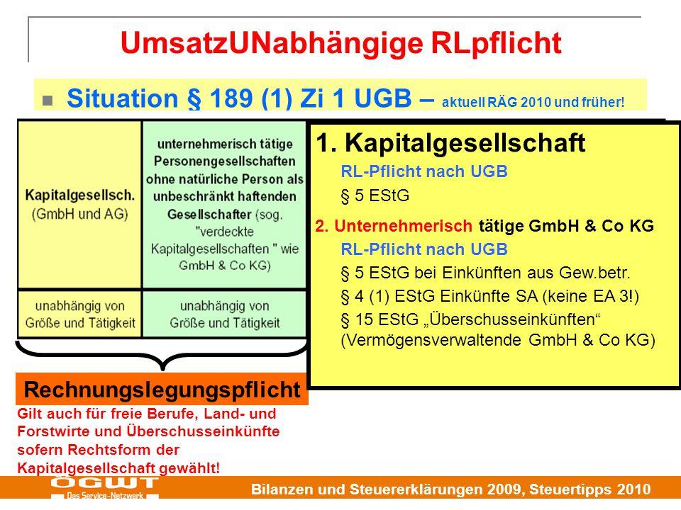 Bilanzen und Steuererklärungen 2009, Steuertipps 2010 UmsatzUNabhängige RLpflicht Situation § 189 (1) Zi 1 UGB – aktuell RÄG 2010 und früher.