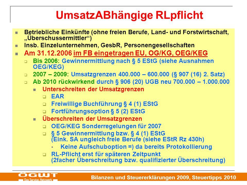 """Bilanzen und Steuererklärungen 2009, Steuertipps 2010 Betriebliche Einkünfte (ohne freien Berufe, Land- und Forstwirtschaft, """"Überschussermittler"""") In"""