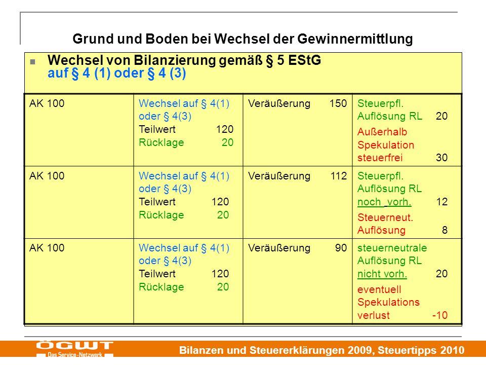 Bilanzen und Steuererklärungen 2009, Steuertipps 2010 Grund und Boden bei Wechsel der Gewinnermittlung Wechsel von Bilanzierung gemäß § 5 EStG auf § 4