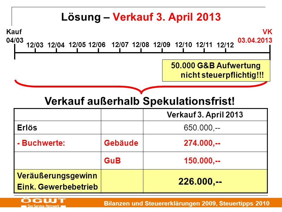 Bilanzen und Steuererklärungen 2009, Steuertipps 2010 Lösung – Verkauf 3. April 2013 Verkauf 3. April 2013 Erlös650.000,-- - Buchwerte:Gebäude274.000,