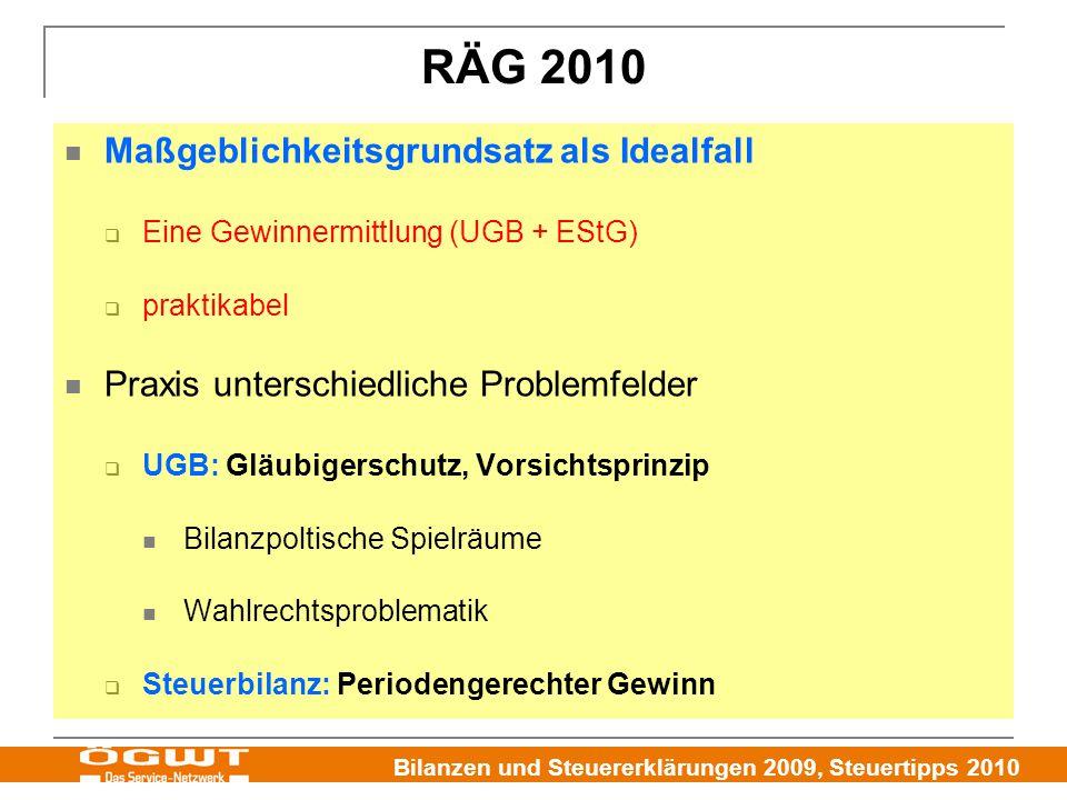 Bilanzen und Steuererklärungen 2009, Steuertipps 2010 RÄG 2010 Maßgeblichkeitsgrundsatz als Idealfall  Eine Gewinnermittlung (UGB + EStG)  praktikab