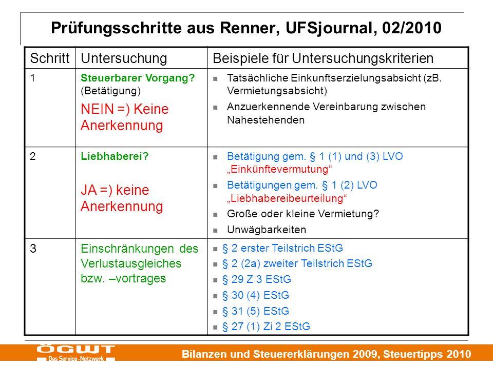Bilanzen und Steuererklärungen 2009, Steuertipps 2010 Prüfungsschritte aus Renner, UFSjournal, 02/2010 SchrittUntersuchungBeispiele für Untersuchungskriterien 1Steuerbarer Vorgang.