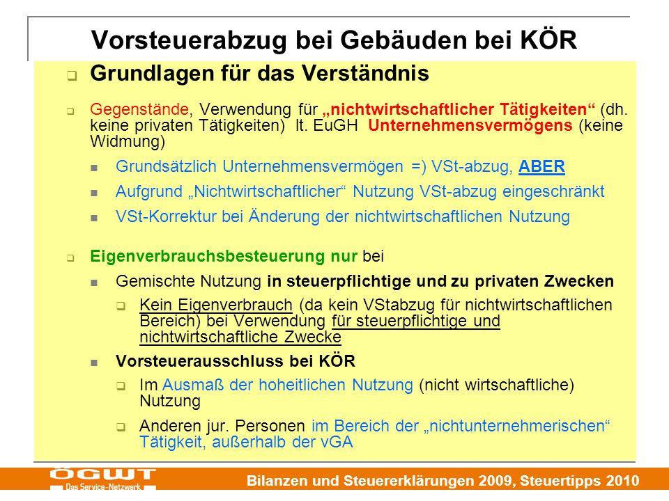 """Bilanzen und Steuererklärungen 2009, Steuertipps 2010  Grundlagen für das Verständnis  Gegenstände, Verwendung für """"nichtwirtschaftlicher Tätigkeite"""