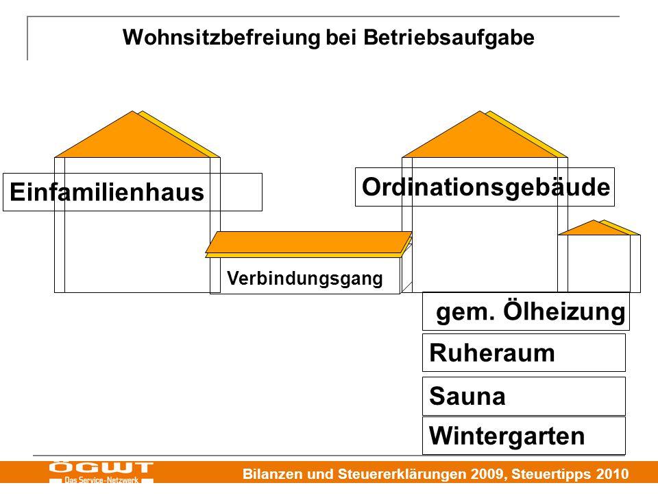 Bilanzen und Steuererklärungen 2009, Steuertipps 2010 Wohnsitzbefreiung bei Betriebsaufgabe Einfamilienhaus Ordinationsgebäude Wintergarten Ruheraum Sauna gem.