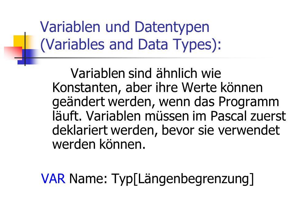Variablen und Datentypen (Variables and Data Types): Variablen sind ähnlich wie Konstanten, aber ihre Werte können geändert werden, wenn das Programm
