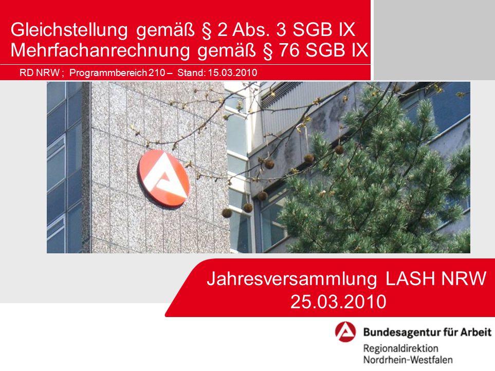 Bildrahmen (Bild in Masterfolie einfügen) Jahresversammlung LASH NRW 25.03.2010 Gleichstellung gemäß § 2 Abs. 3 SGB IX Mehrfachanrechnung gemäß § 76 S