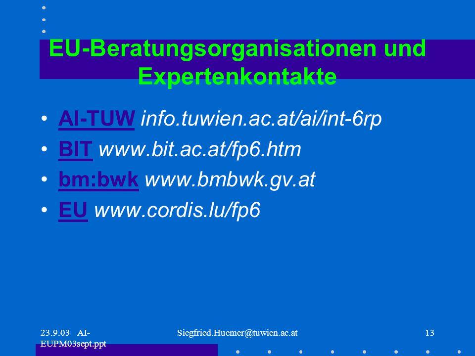 23.9.03 AI- EUPM03sept.ppt Siegfried.Huemer@tuwien.ac.at13 EU-Beratungsorganisationen und Expertenkontakte AI-TUW info.tuwien.ac.at/ai/int-6rpAI-TUW BIT www.bit.ac.at/fp6.htmBIT bm:bwk www.bmbwk.gv.atbm:bwk EU www.cordis.lu/fp6EU
