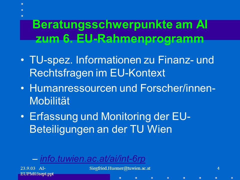 23.9.03 AI- EUPM03sept.ppt Siegfried.Huemer@tuwien.ac.at4 Beratungsschwerpunkte am AI zum 6.