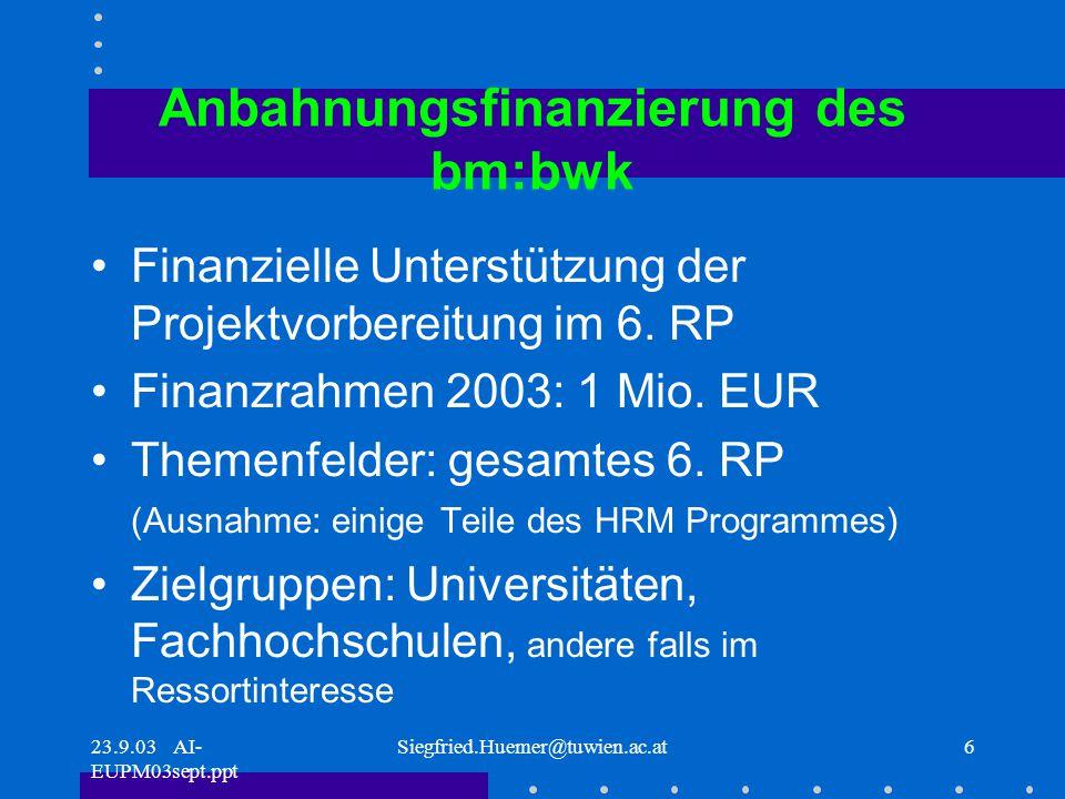 23.9.03 AI- EUPM03sept.ppt Siegfried.Huemer@tuwien.ac.at6 Anbahnungsfinanzierung des bm:bwk Finanzielle Unterstützung der Projektvorbereitung im 6.