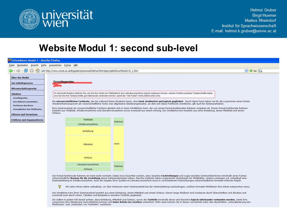 Helmut Gruber Birgit Huemer Markus Rheindorf Institut für Sprachwissenschaft E-mail: helmut.k.gruber@univie.ac.at Website Modul 1: second sub-level