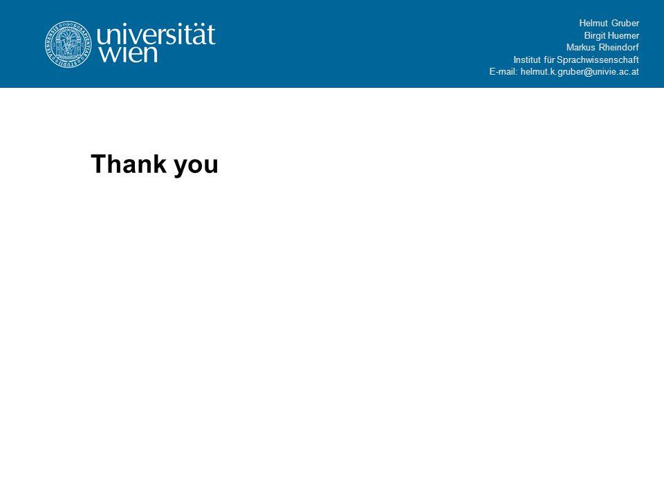 Helmut Gruber Birgit Huemer Markus Rheindorf Institut für Sprachwissenschaft E-mail: helmut.k.gruber@univie.ac.at Thank you