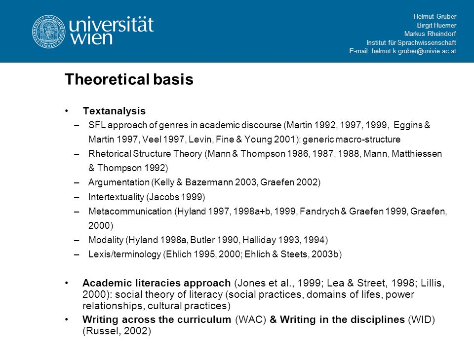 Helmut Gruber Birgit Huemer Markus Rheindorf Institut für Sprachwissenschaft E-mail: helmut.k.gruber@univie.ac.at Theoretical basis Textanalysis –SFL approach of genres in academic discourse (Martin 1992, 1997, 1999, Eggins & Martin 1997, Veel 1997, Levin, Fine & Young 2001): generic macro-structure –Rhetorical Structure Theory (Mann & Thompson 1986, 1987, 1988, Mann, Matthiessen & Thompson 1992) –Argumentation (Kelly & Bazermann 2003, Graefen 2002) –Intertextuality (Jacobs 1999) –Metacommunication (Hyland 1997, 1998a+b, 1999, Fandrych & Graefen 1999, Graefen, 2000) –Modality (Hyland 1998a, Butler 1990, Halliday 1993, 1994) –Lexis/terminology (Ehlich 1995, 2000; Ehlich & Steets, 2003b) Academic literacies approach (Jones et al., 1999; Lea & Street, 1998; Lillis, 2000): social theory of literacy (social practices, domains of lifes, power relationships, cultural practices) Writing across the curriculum (WAC) & Writing in the disciplines (WID) (Russel, 2002)