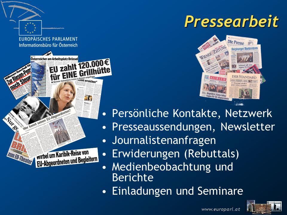 www.europarl.at Pressearbeit Persönliche Kontakte, Netzwerk Presseaussendungen, Newsletter Journalistenanfragen Erwiderungen (Rebuttals) Medienbeobachtung und Berichte Einladungen und Seminare